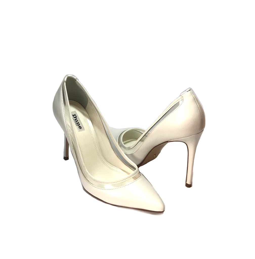 DUNE White Leather Pointed Pumps | Gently Used |
