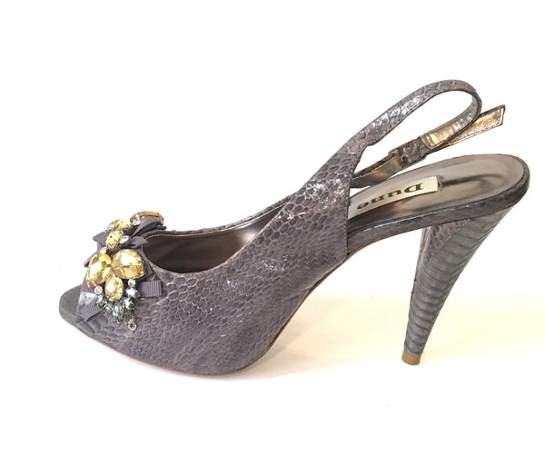 DUNE 'Deaver' Jeweled Pewter Peep-toe Heels | Gently Used |