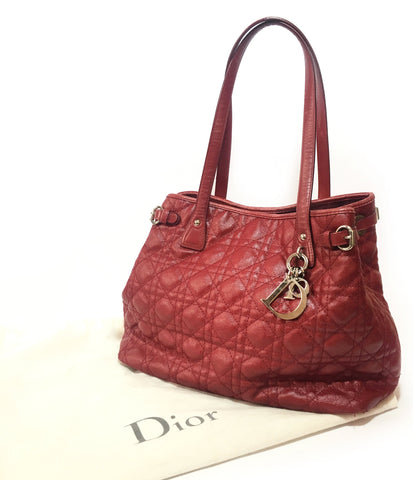 Christian Dior Maroon 'Lady Dior' Shoulder Bag | Pre Loved |