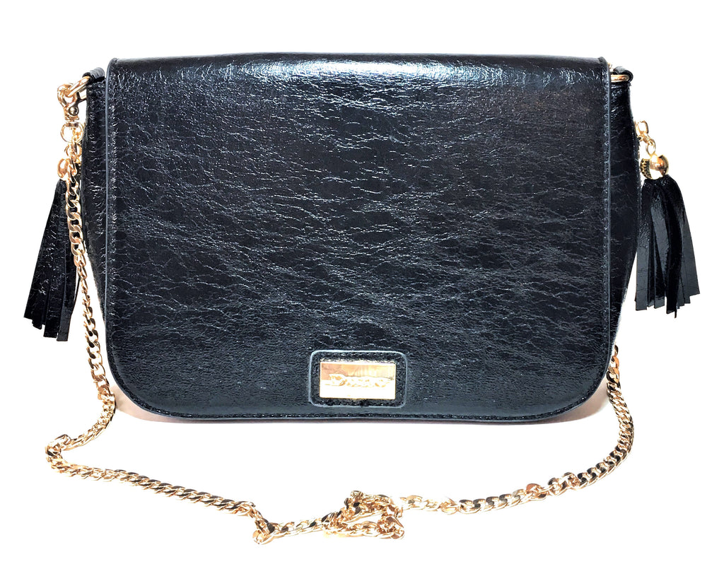 DUNE Black Faux Leather & Gold Chain Shoulder Bag | Gently Used |