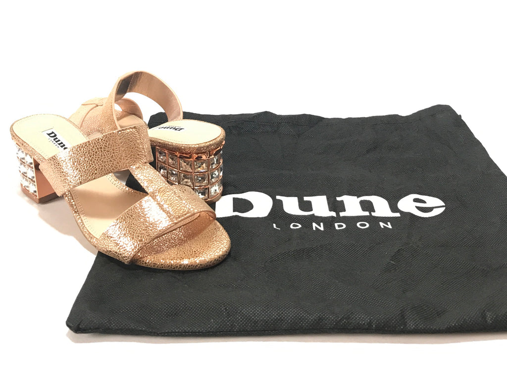 DUNE 'Mulvena' Rose Gold Crystal Block Heels | Like New |
