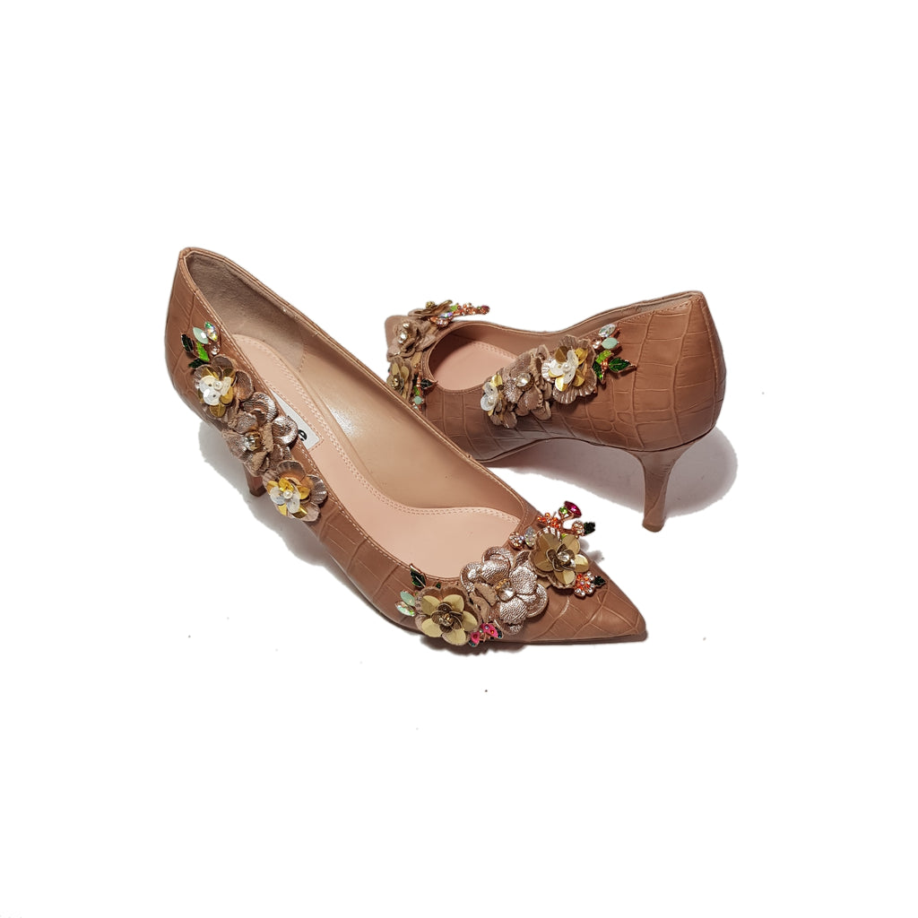 Dune Nude Pink Rhinestone & Leather Pumps | Gently Used |