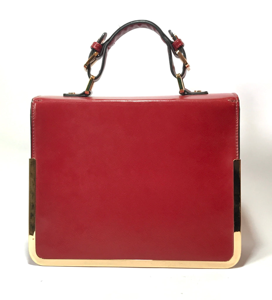 DUNE Red & Gold Leather Tote | Gently Used |