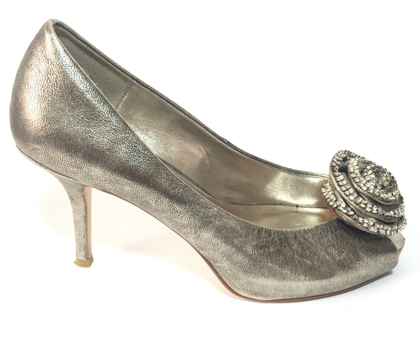 Dune Silver Rose Crystal Heels | Gently Used |