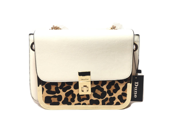 DUNE White Leather and Leopard Print Pony Hair Tote | Brand New |