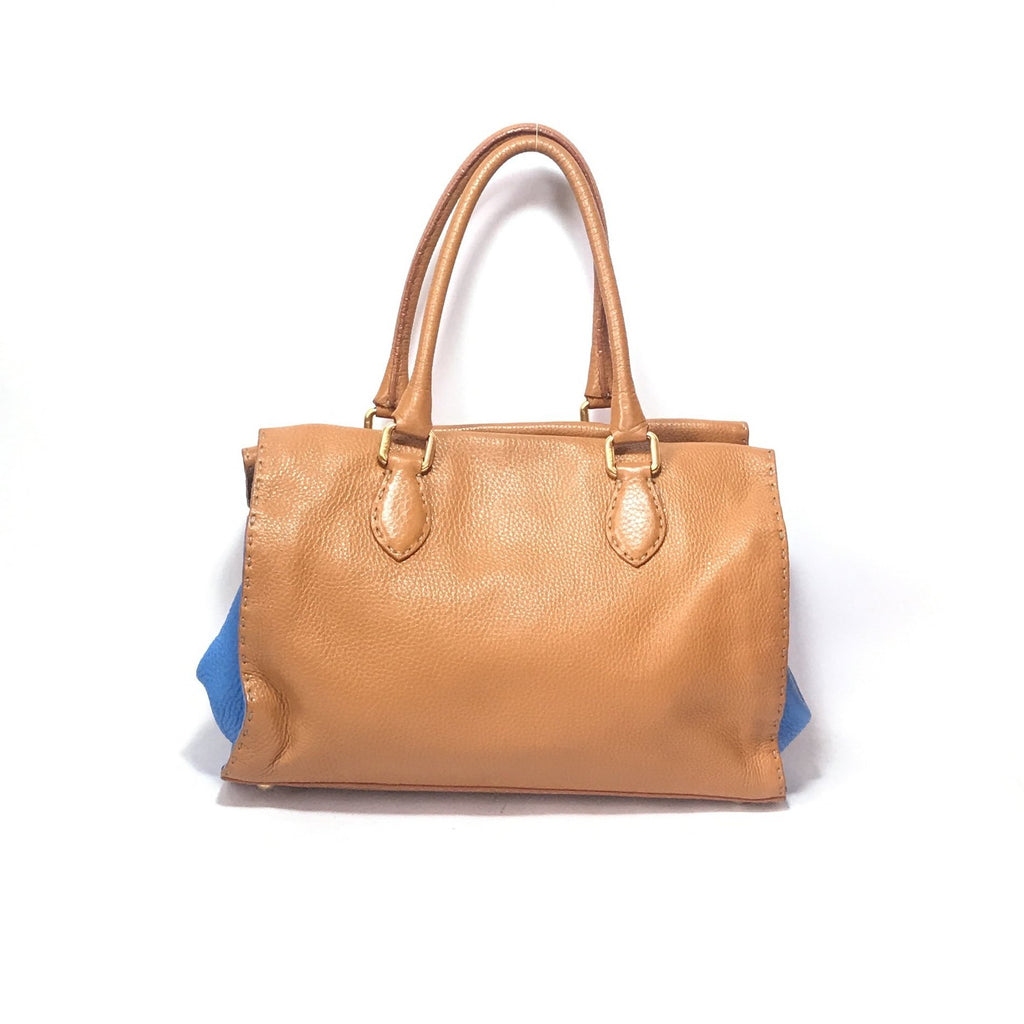 Fendi Vintage Tan & Blue Pebbled Leather Tote | Pre Loved |