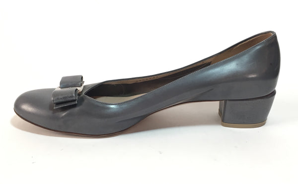 Salvatore Ferragamo 'Vera' Grey Patent Leather Pumps | Pre Loved |