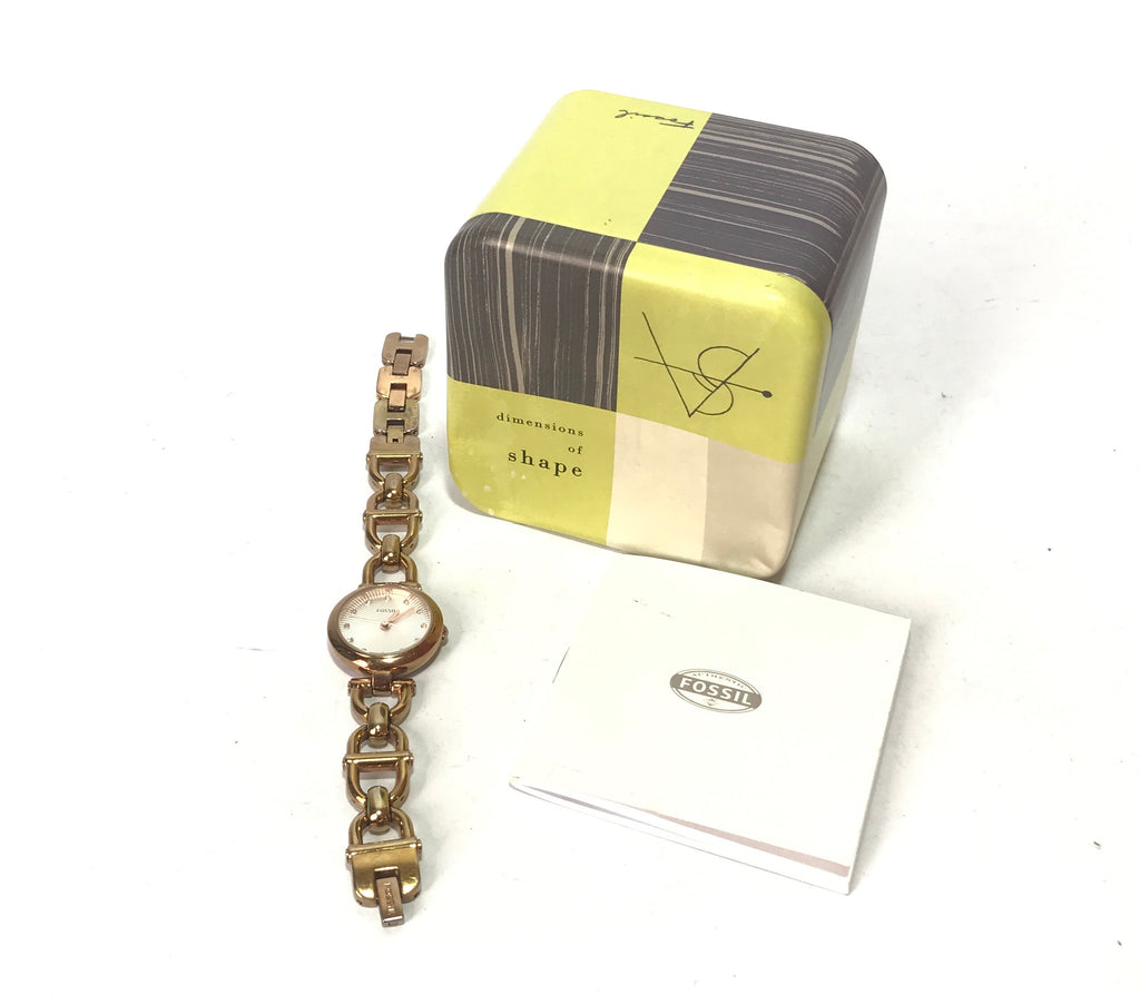 FOSSIL Gold Chain Link Stainless Steel Watch | Pre Loved |