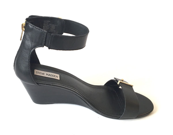 Steve Madden 'Narissaa SM' Black Leather Wedges | Gently Used |