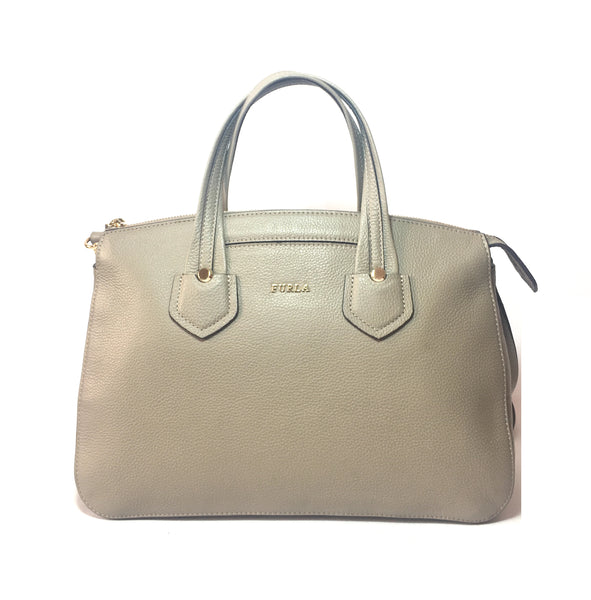Furla Grey Pebbled Leather Tote | Like New |