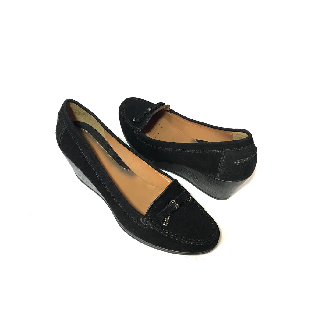 GEOX Black Suede Loafer Wedges | Gently Used |