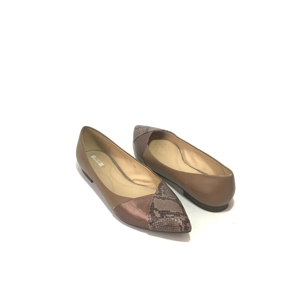 GEOX Taupe Snakeskin Pointed Flats | Like New |