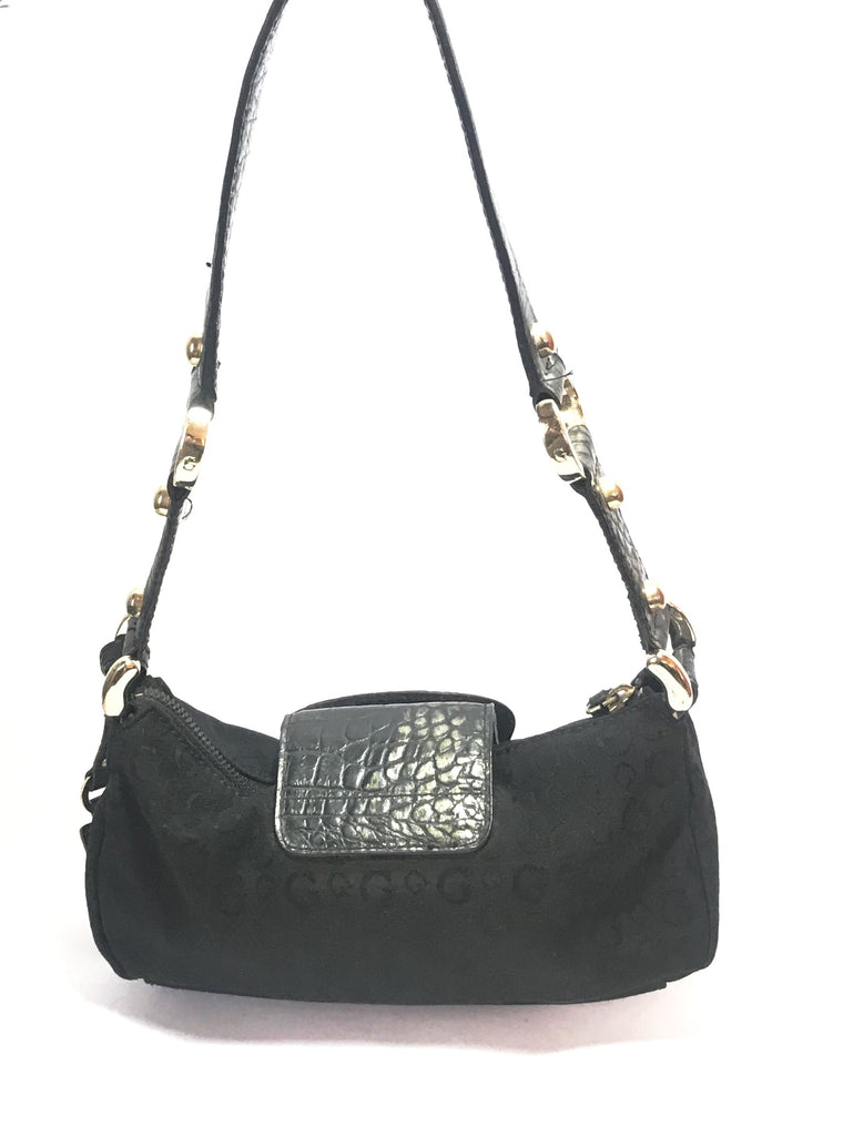 GUESS Black Canvas & Animal Print Small Shoulder Bag | Pre Loved |