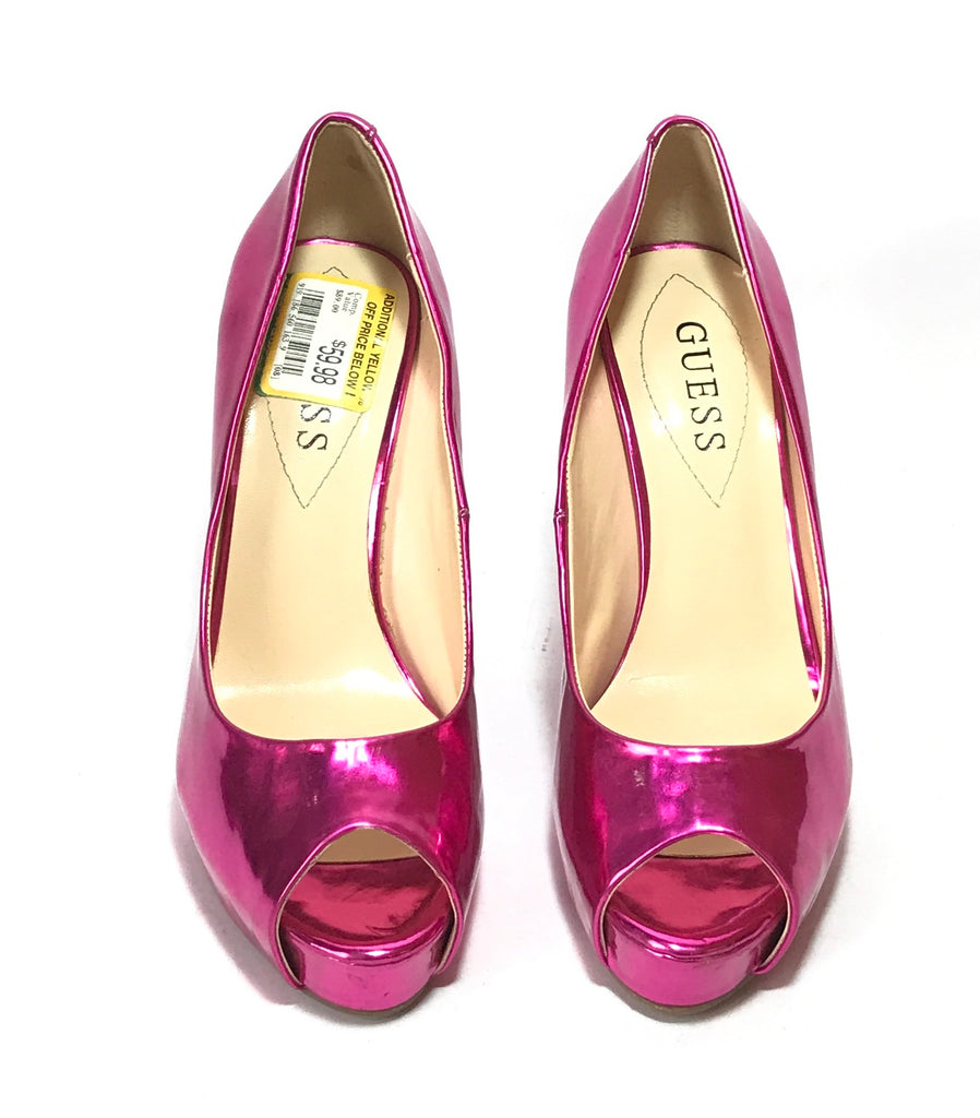 Guess Fuchsia Pink Peep-Toe Heels | Like New |