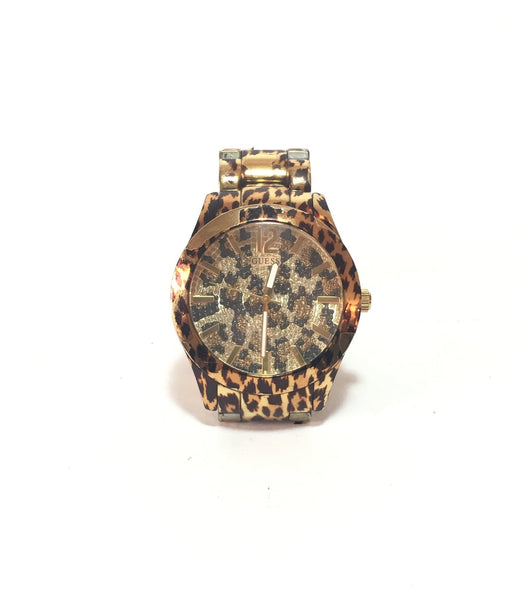 GUESS Leopard Print Gold Watch | Pre Loved |