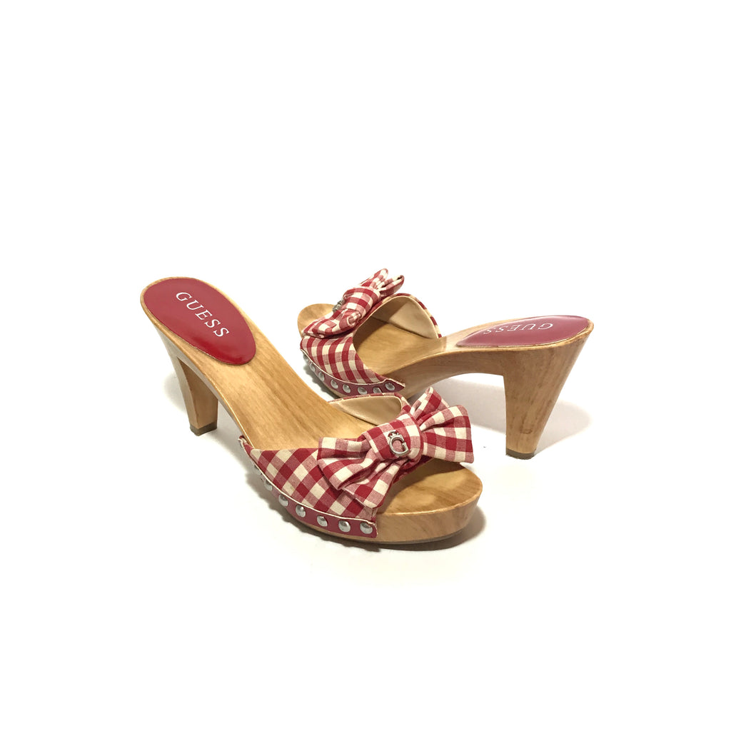 GUESS Red & White Plaid Wooden Block Heels | Gently Used |