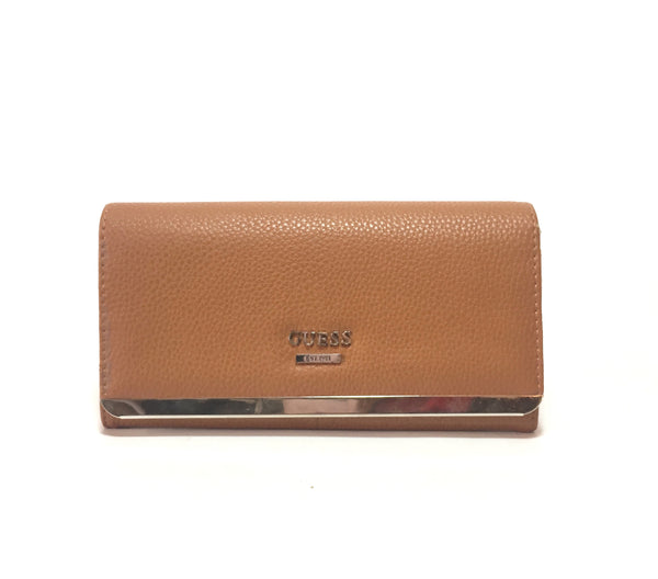 GUESS Tan Pebbled Leather Envelope Wallet | Pre Loved |