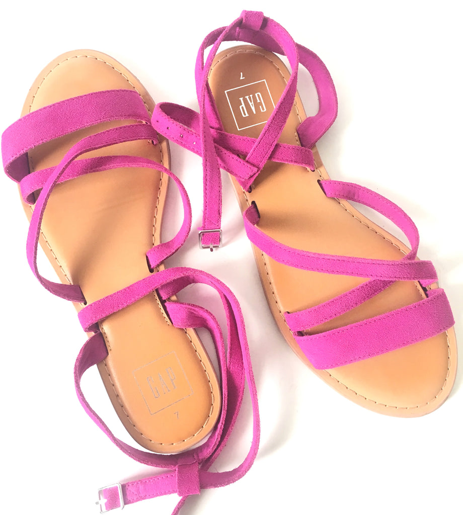 GAP Fuchsia Suede Strappy Flat Sandals | Like New |