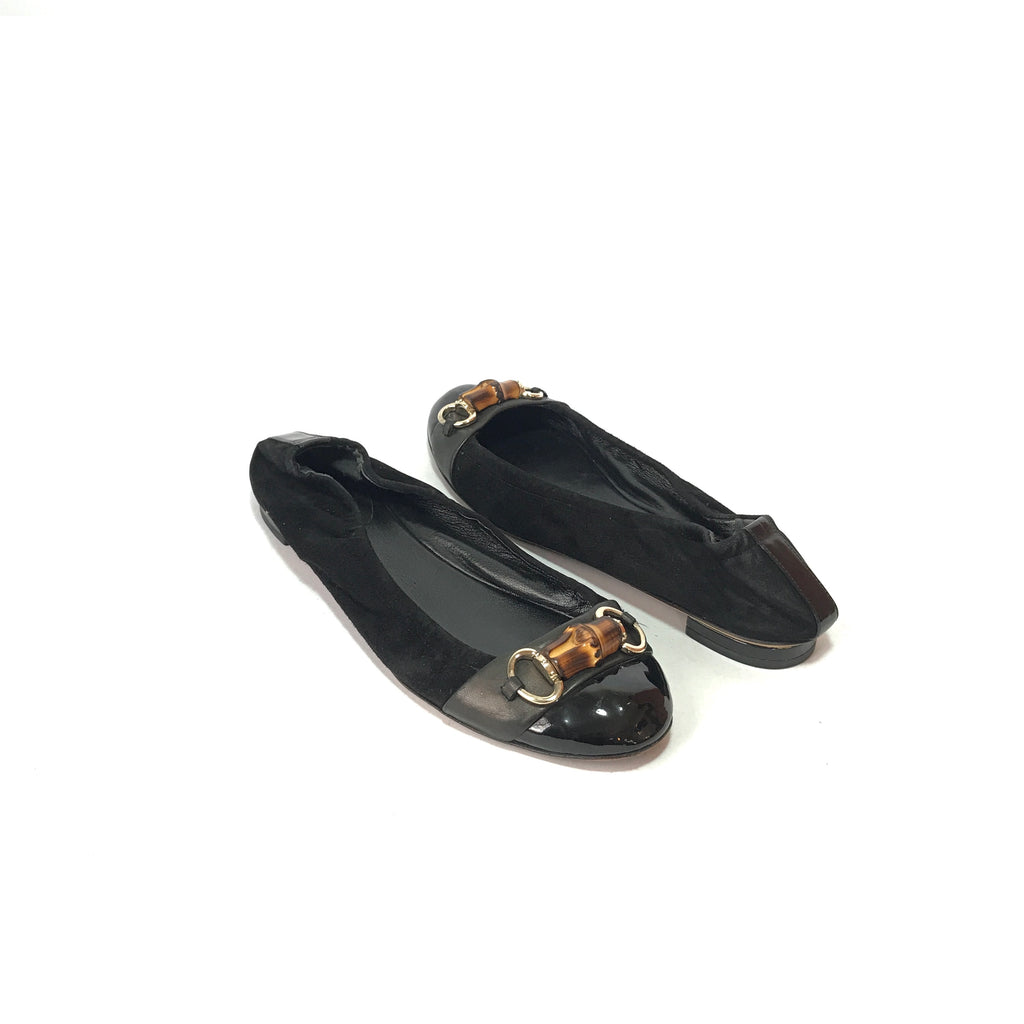 Gucci Black Suede Bamboo Horse Bit Ballet Flats | Pre Loved |