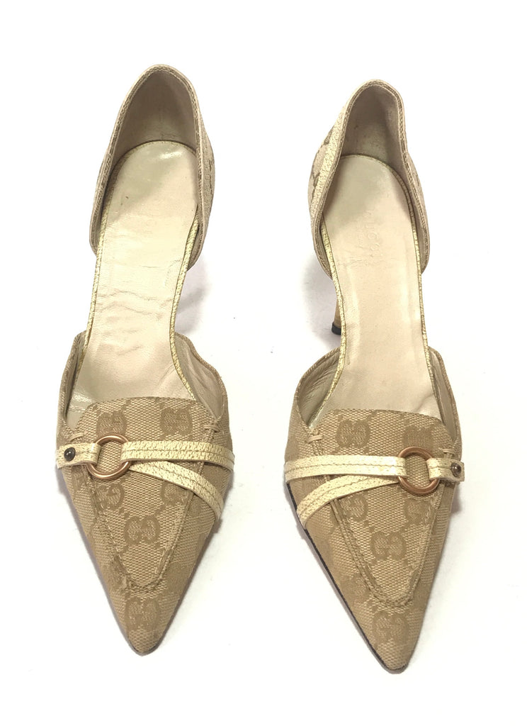 Gucci Monogram & Leather Pointed Pumps | Pre Loved |