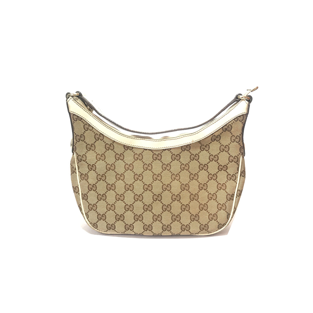 Gucci Monogram Canvas & Leather Shoulder Bag | Pre Loved |