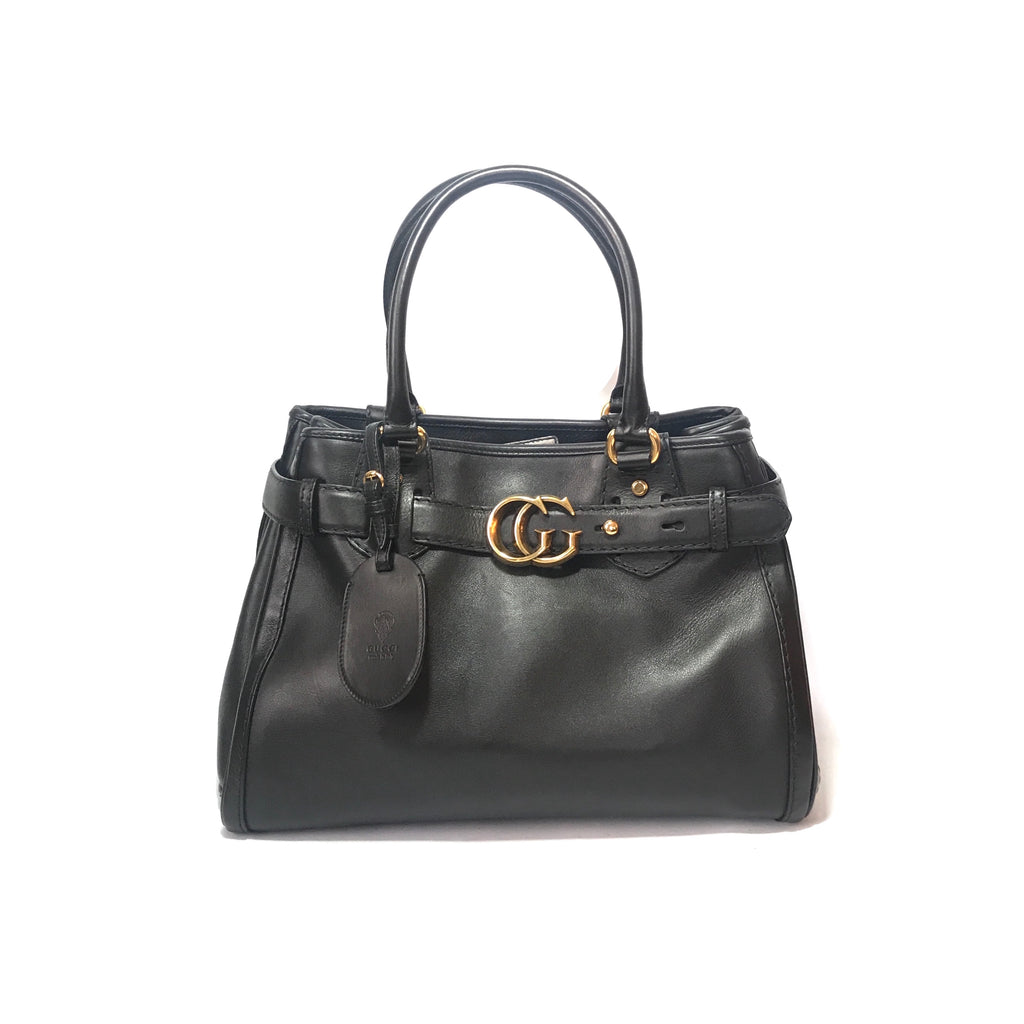 Gucci Black Leather GG 'Marmont' Tote | Gently Used |