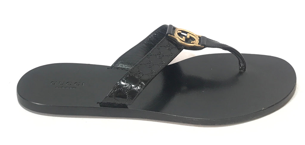 a42d5ee4ef8e Gucci GG Black Thong Sandals