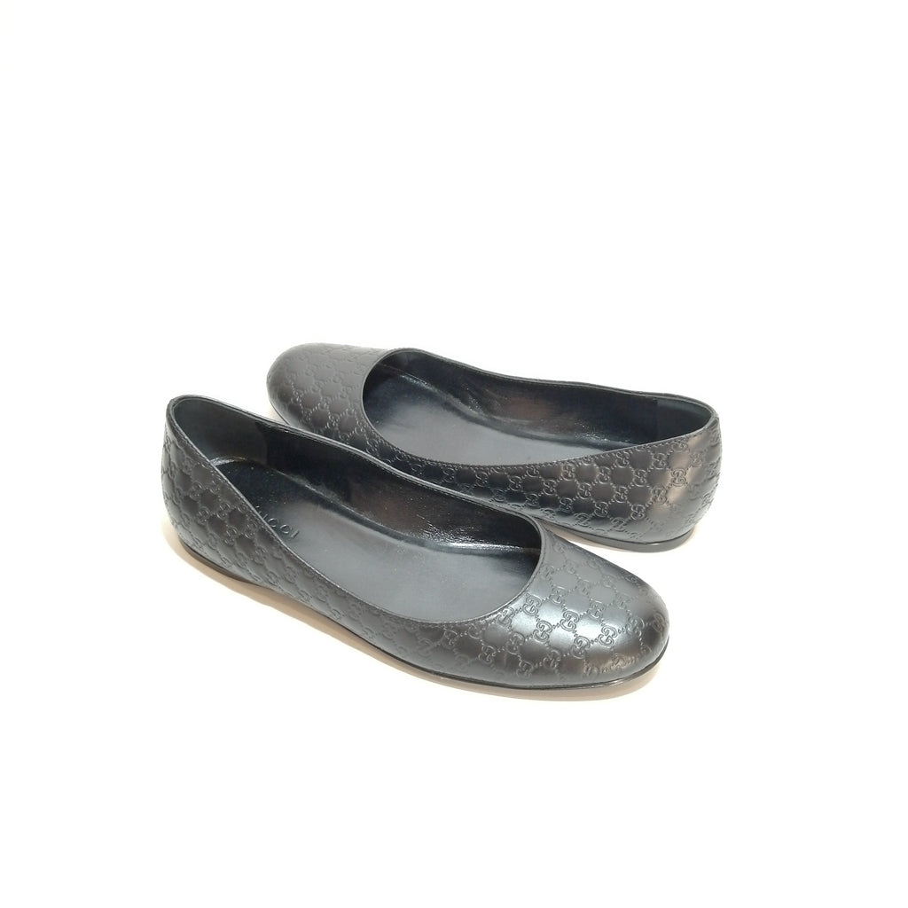 Gucci Black Guccisma Leather Ballet Flats | Gently Used |
