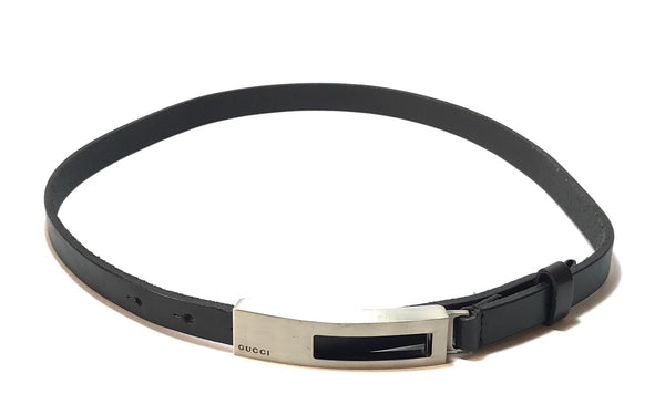 Gucci Black Leather Buckle Logo Belt | Pre Loved |