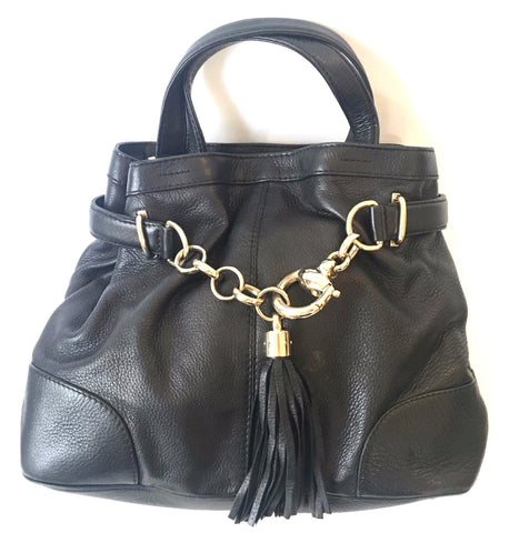 Gucci Black Leather with Chain Tassel Tote Bag | Gently Used |