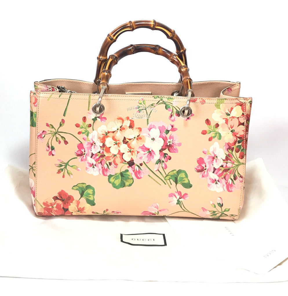 Gucci Bamboo Shopper Blooms Leather Tote Bag | Like New |