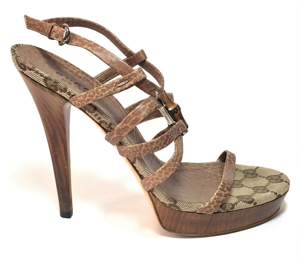 Gucci Brown Leather & Signature Monogram Canvas Strappy Heels | Gently Used |