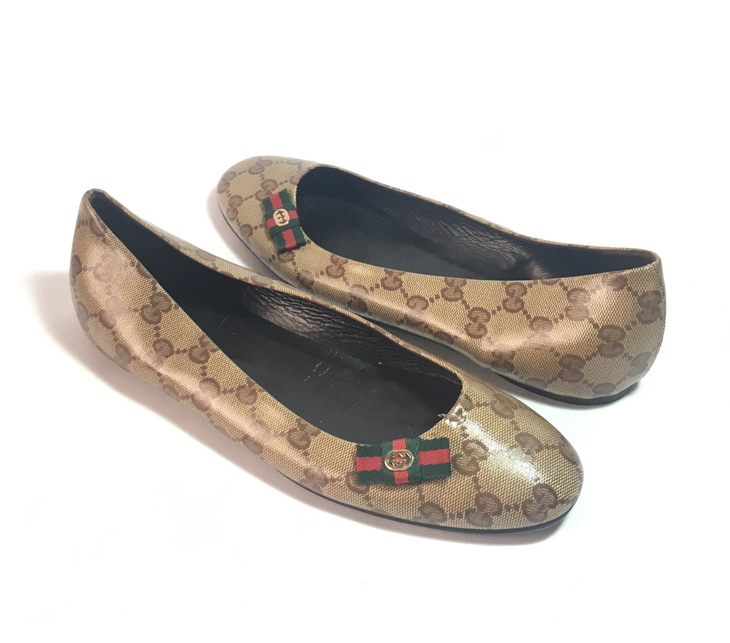 Gucci Monogrammed Coated Canvas Ballet Flats | Gently Used |