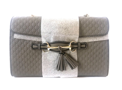 Gucci Grey Emily Guccisma Medium Leather Chain Shoulder Bag | Brand New |