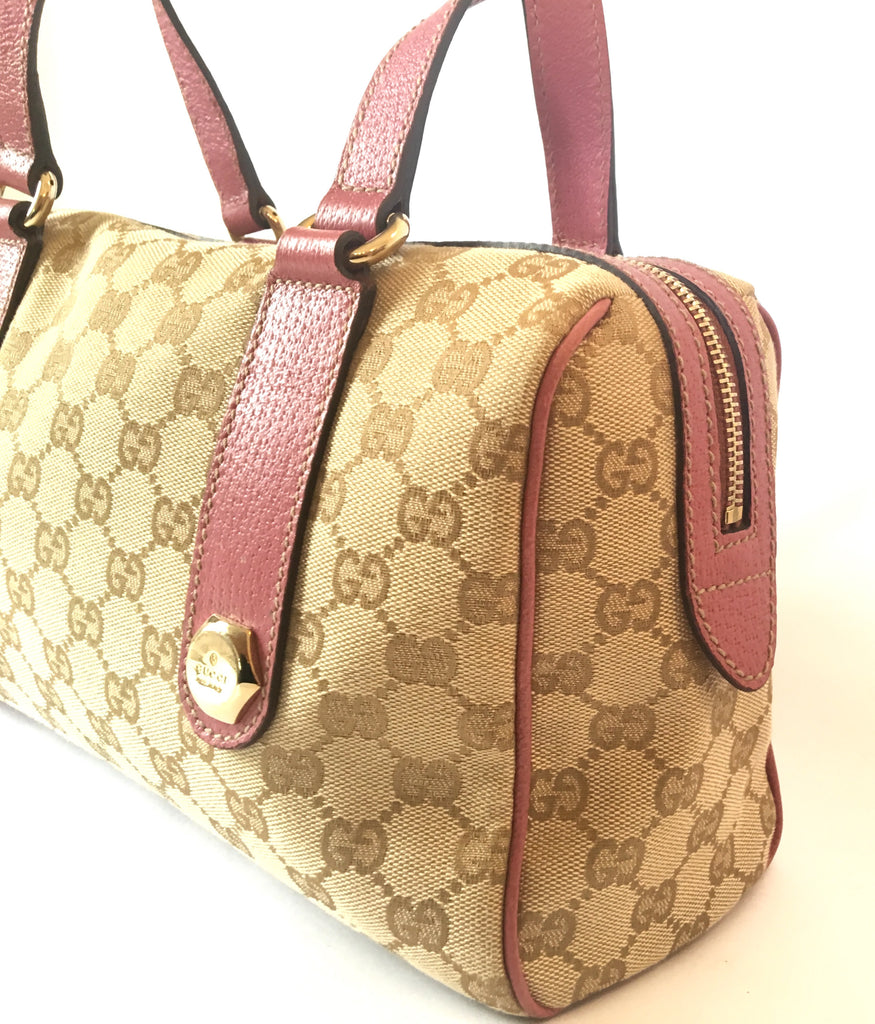 Gucci GG Signature Monogram Canvas with Pink Leather Trim Handbag | Like New | - Secret Stash