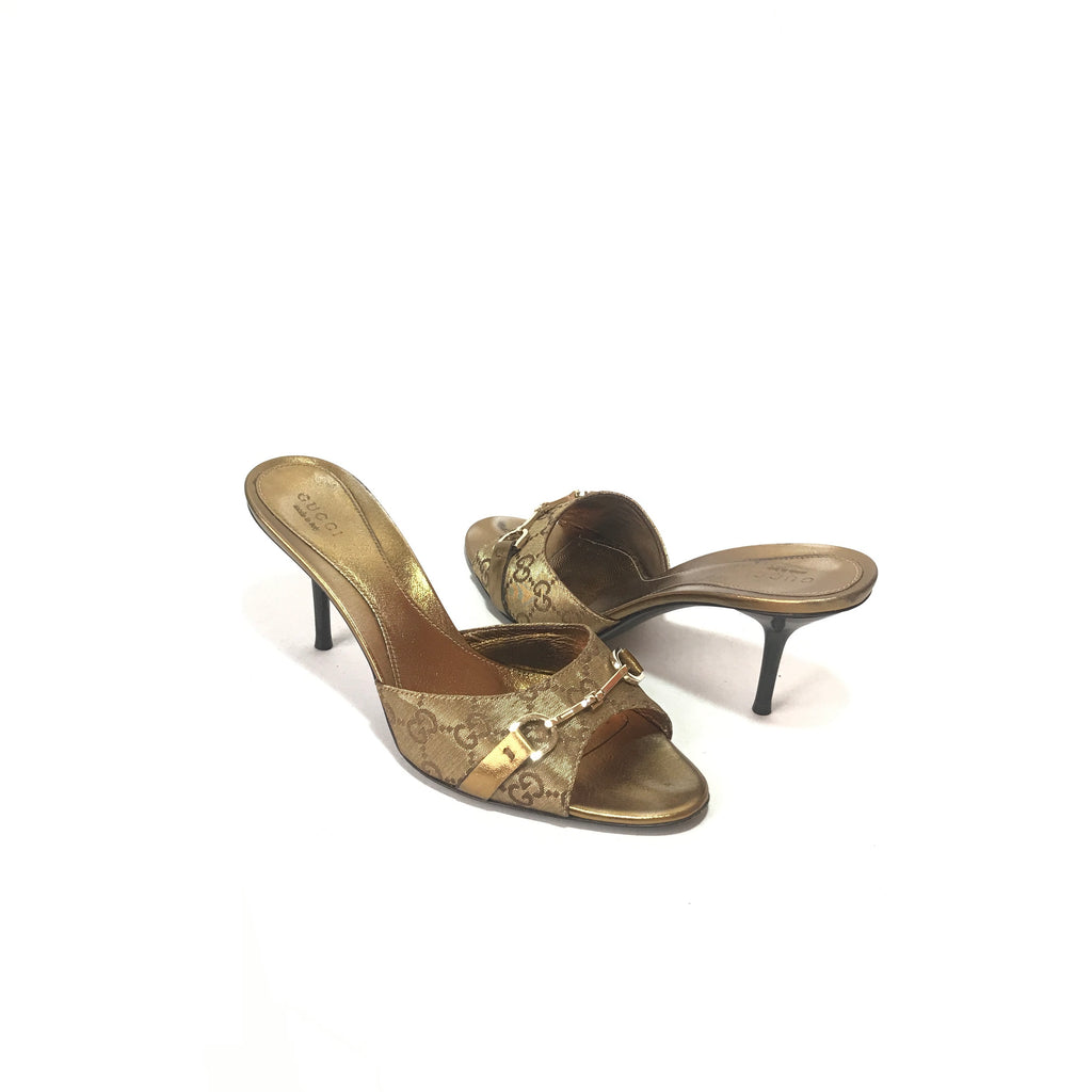 Gucci GG Ebony Horsebit Gold Monogram Heels | Pre Loved |