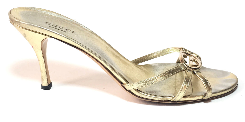 Gucci Gold GG Logo Multi Strap Kitten Heels | Pre Loved |