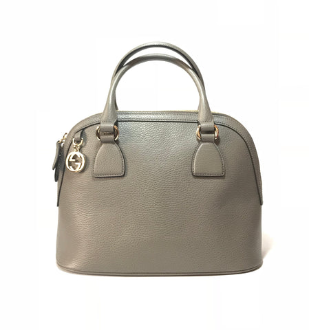 Gucci 'Dome GG Charm' Grey Leather Satchel | Like New |