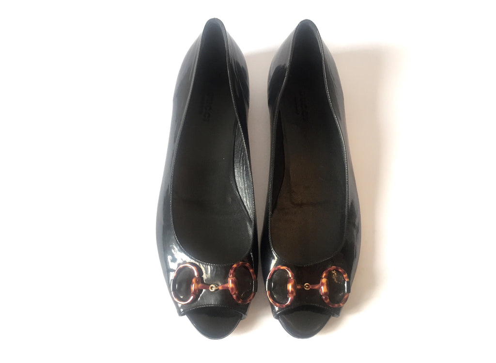 Gucci Horsebit Peep-toe Patent Flats | Pre Loved | - Secret Stash