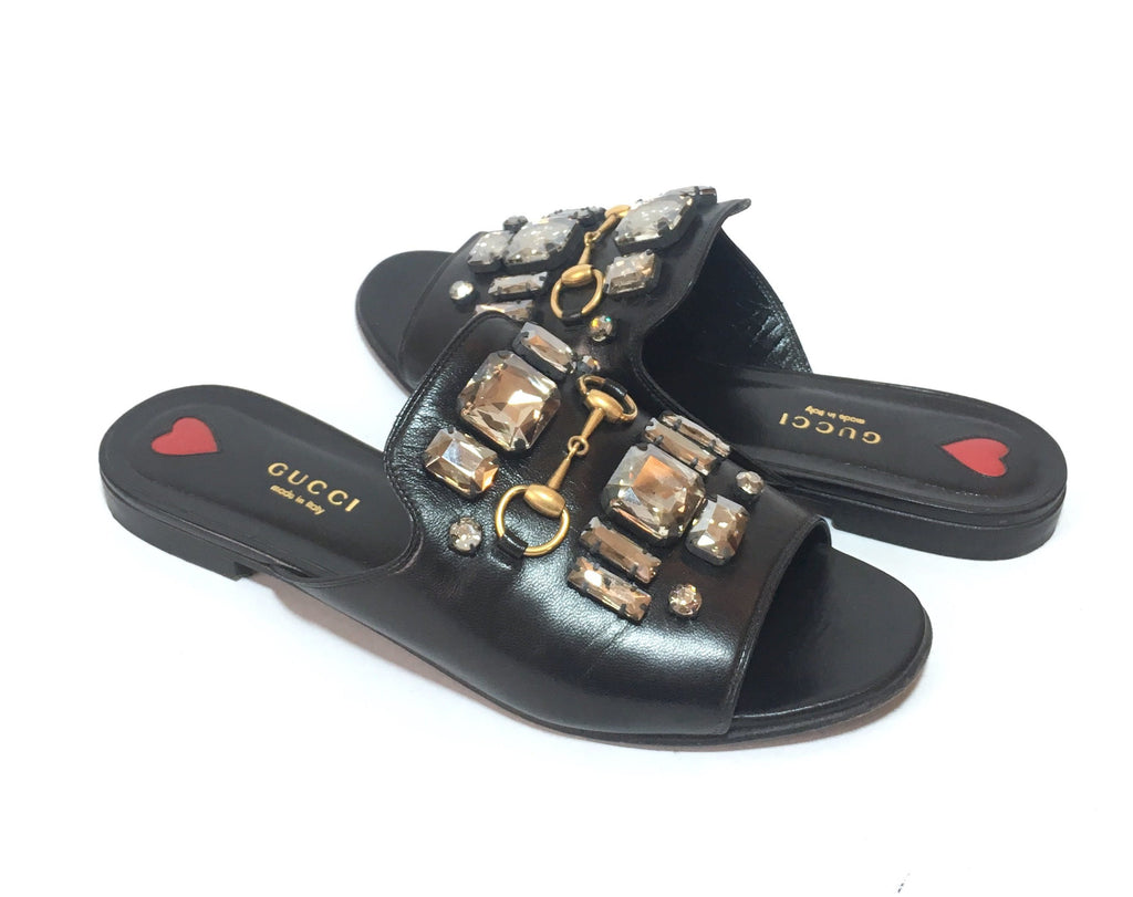Gucci Crystal Leather Slide Sandals | Pre Loved |