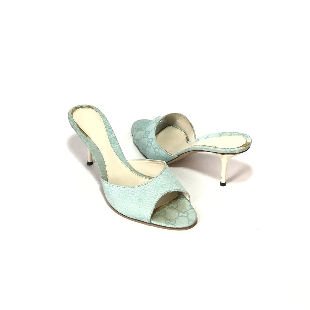 Gucci Signature Monogram Canvas Powder Blue Kitten Heels | Pre Loved |