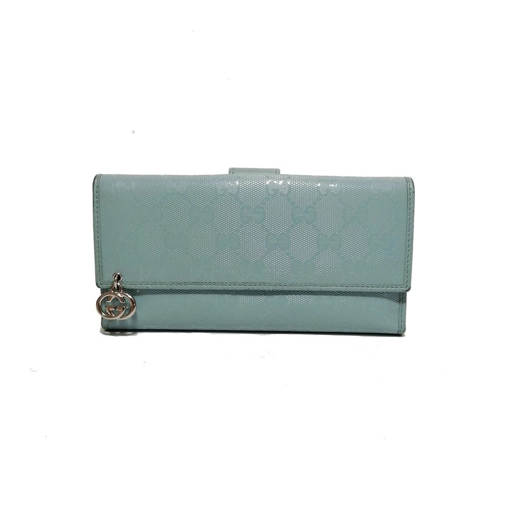 Gucci GG 'Pierce' Light Blue Leather Wallet | Gently Used |