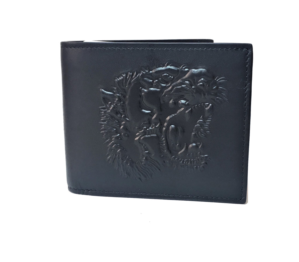 Gucci Men's Tiger Embossed Black Leather Bi-fold Wallet | Brand New |