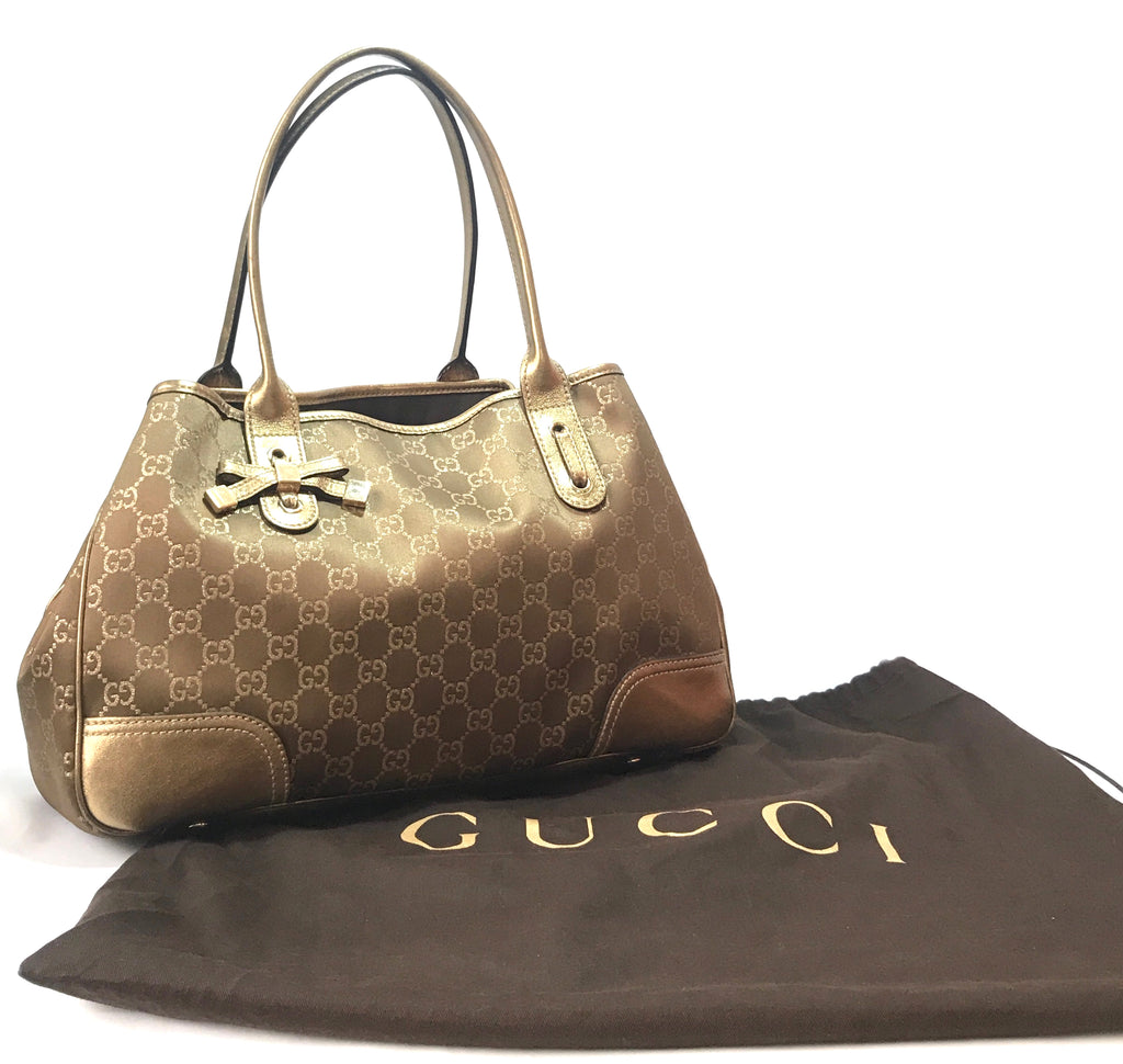 Gucci PRINCY Monogram Metallic Canvas & Leather Tote Bag | Gently Used |