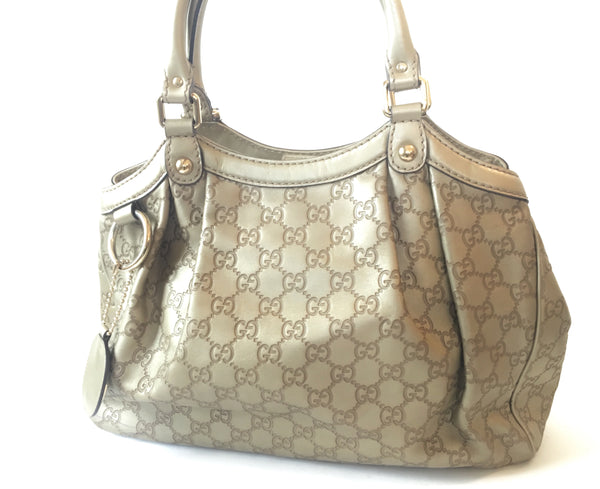 Gucci Metallic Leather 'Borsa Sukey' Tote Bag | Gently Used |
