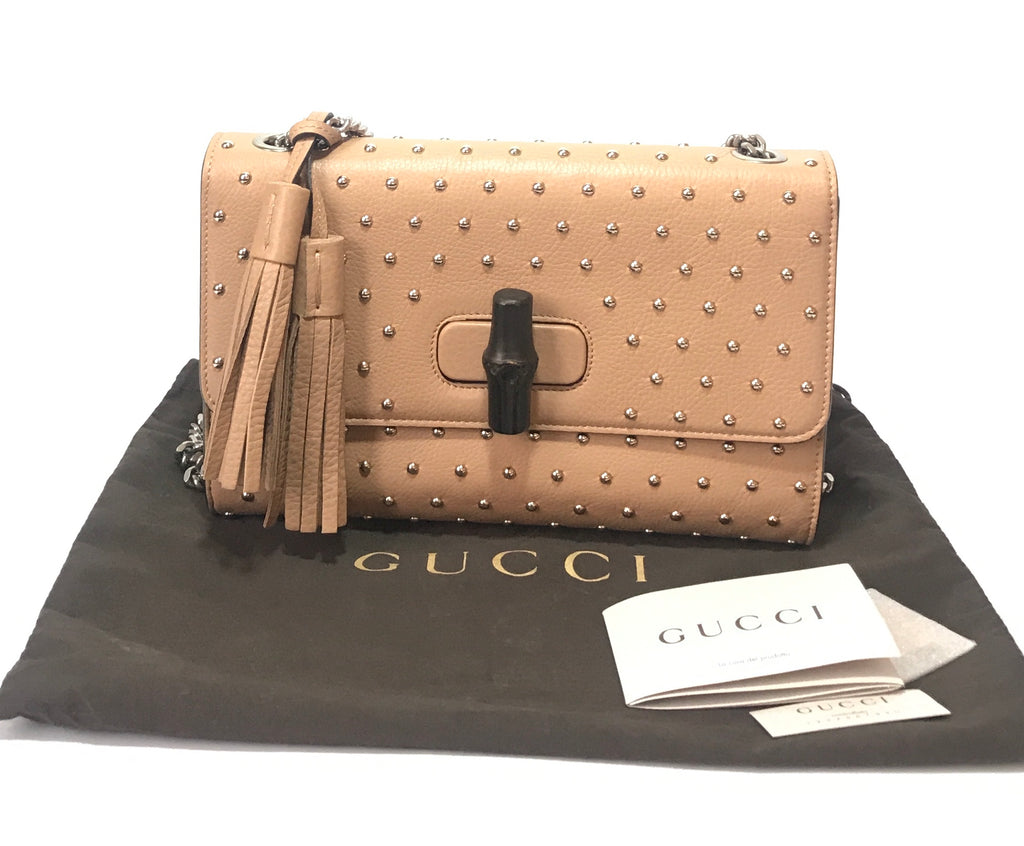Gucci 'Miss Bamboo' Medium Studded Leather Shoulder Bag | Like New |