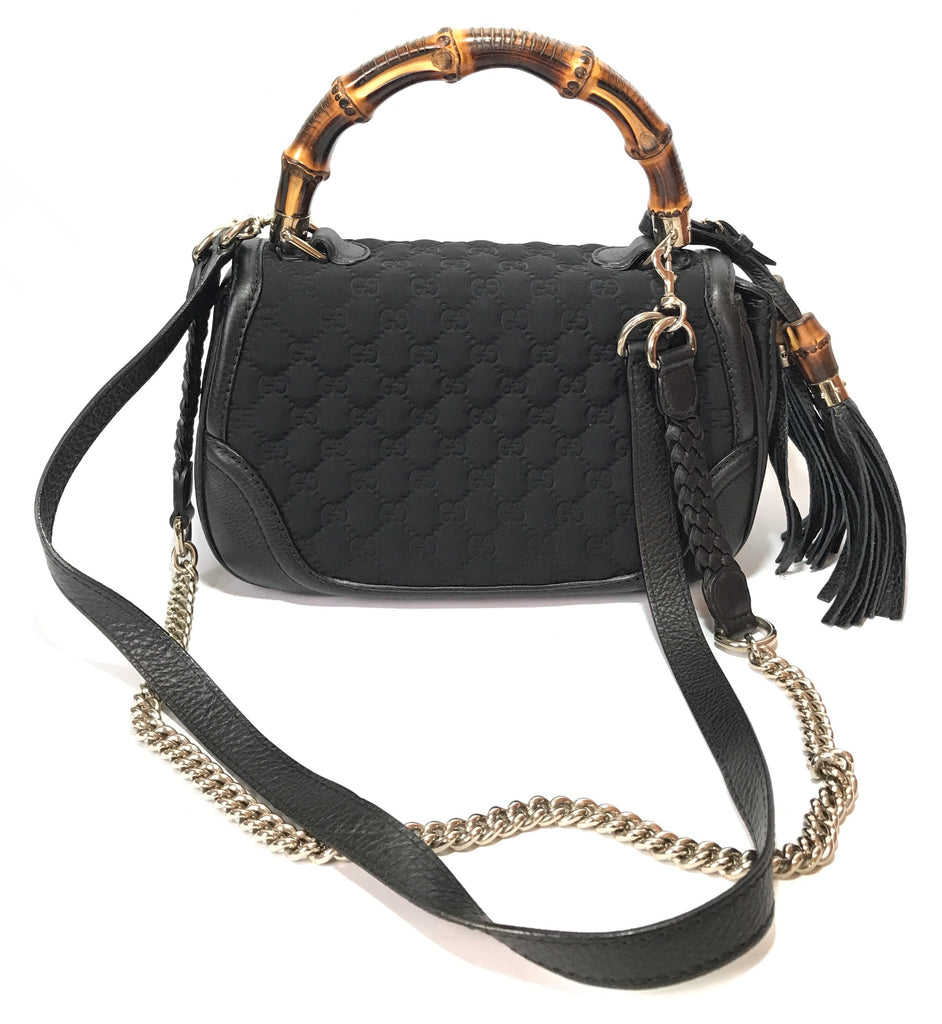 Gucci Monogram Black Bamboo Top Handle & Chain Bag | Gently Used |