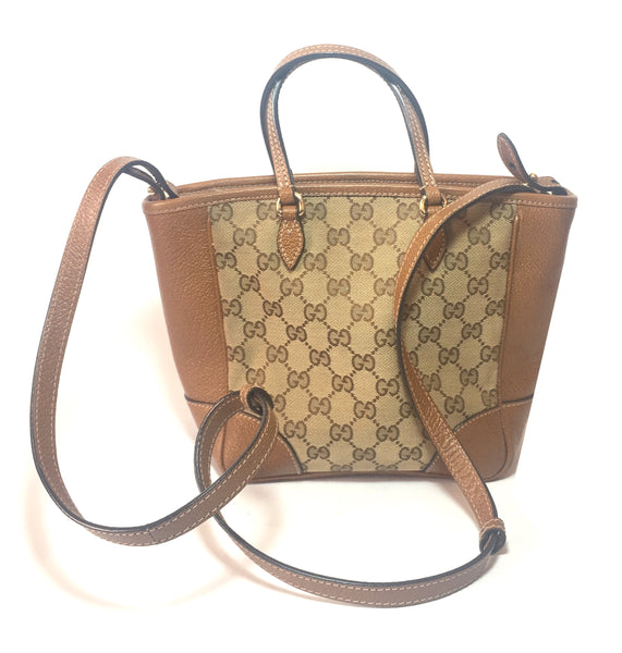 Gucci GG Canvas and Leather Bree Mini Top Handle Tote Bag | Gently Used |