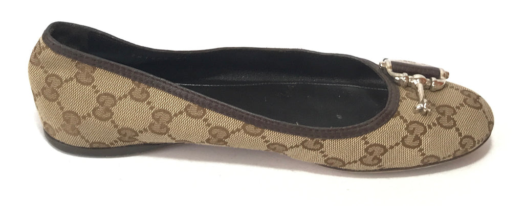 GUCCI MONOGRAM CANVAS WITH LEATHER TRIM BALLET FLATS | Pre Loved |