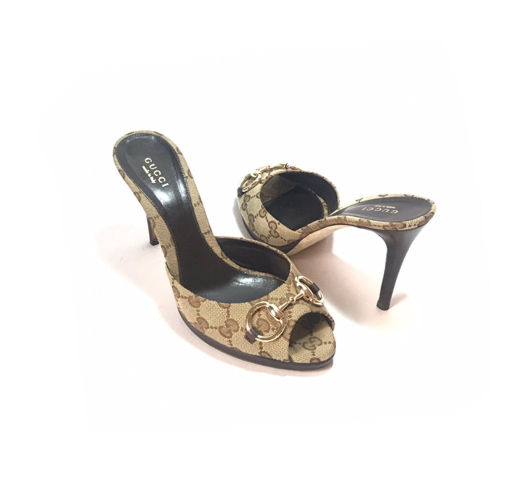 Gucci GG Ebony Horsebit Monogram Heels | Pre Loved |